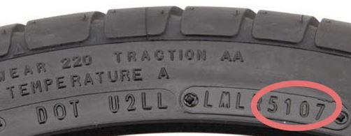 Una foto donde se aprecian diferentes Códigos en el flanco del neumático